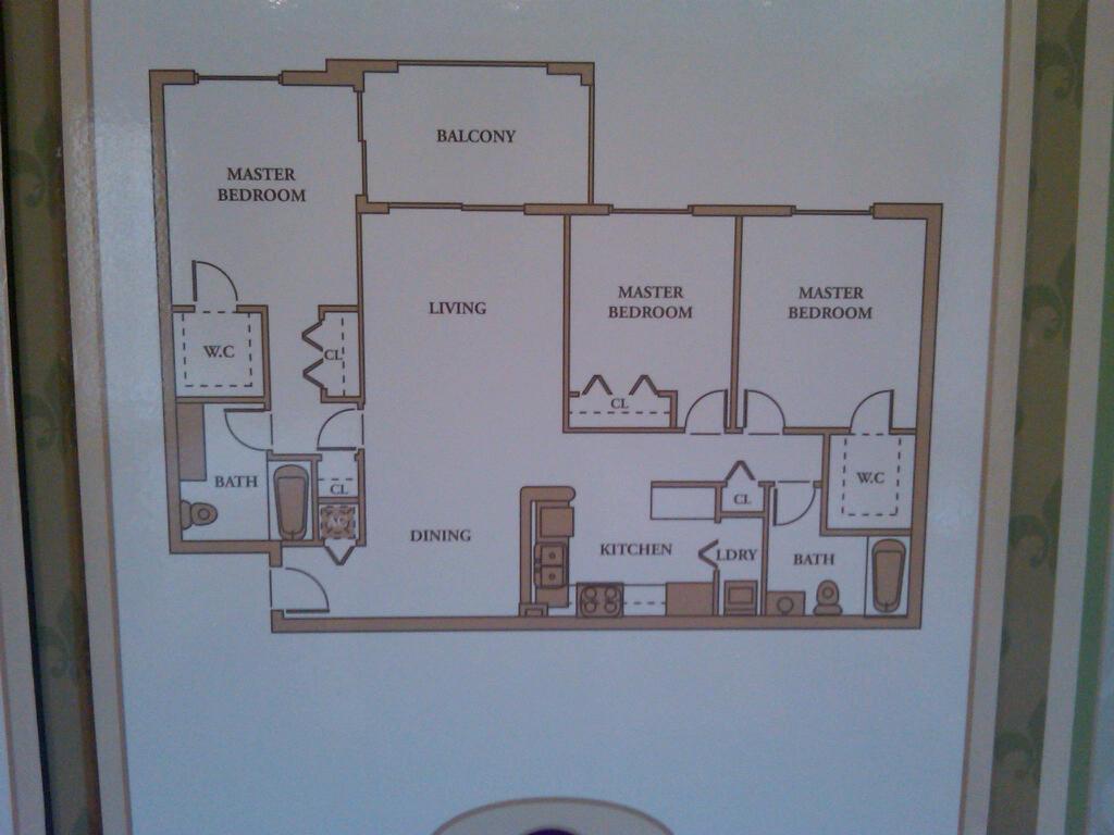 layout of the three bedroom floor plan in royal grand condominium