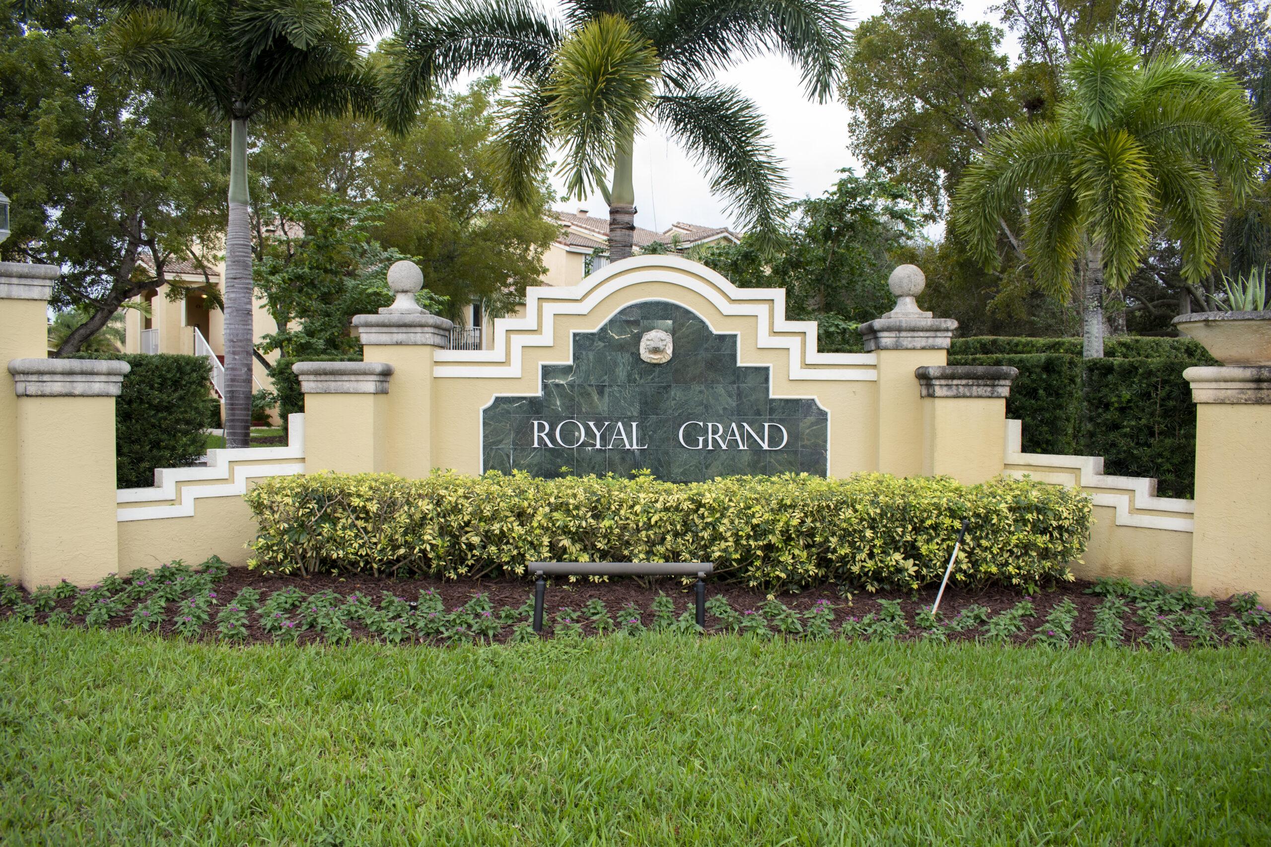 royal grand condo entrance sign davie florida