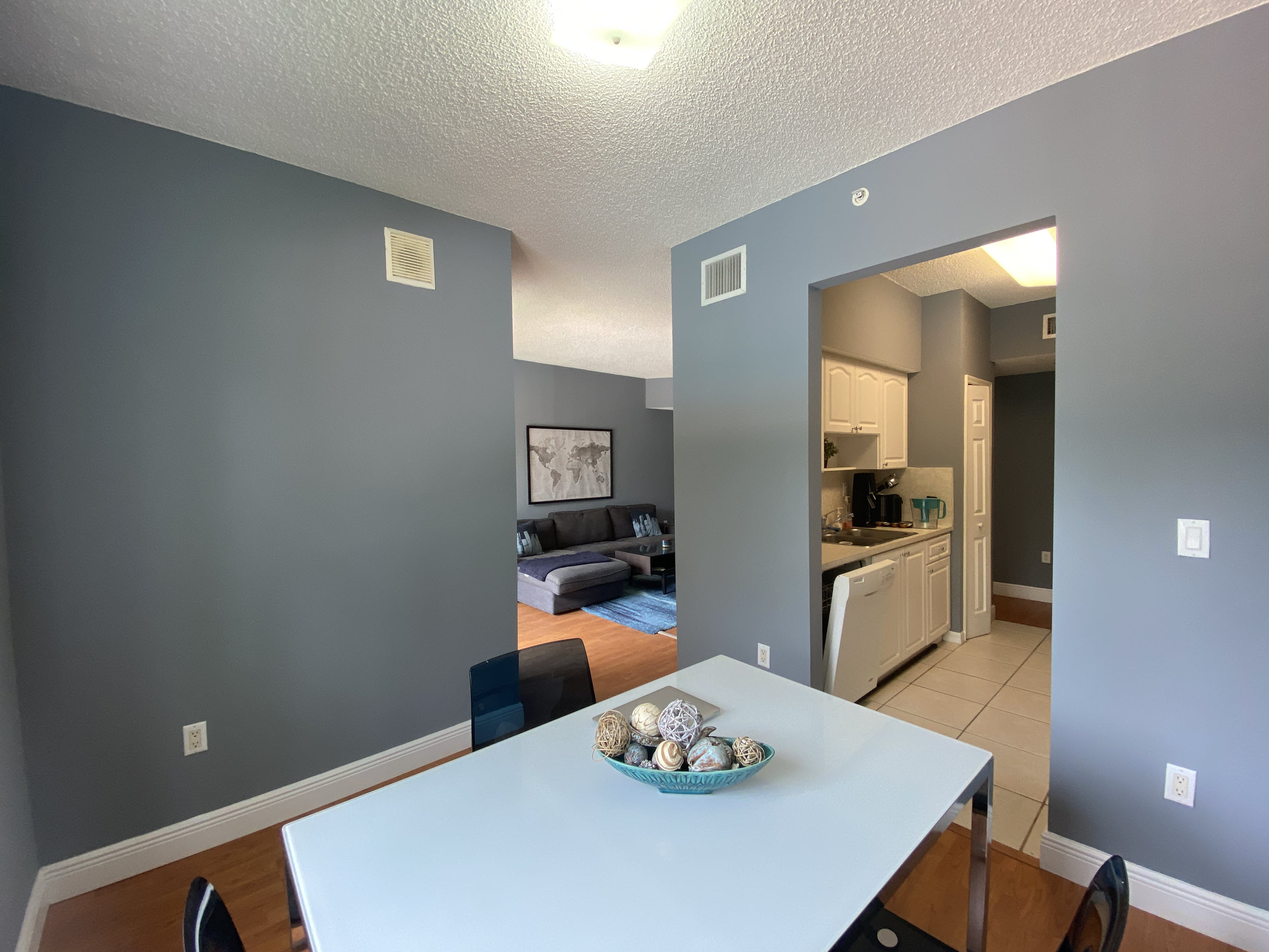 view of kitchen – living room unit 220 university parc residence condominium davie fl